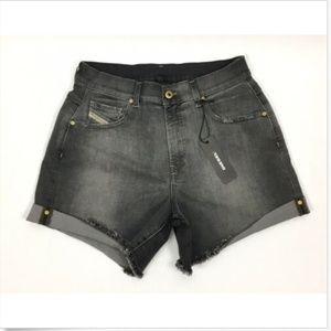 Diesel Women's R-SCOTT Denim Cutoff Shorts Black